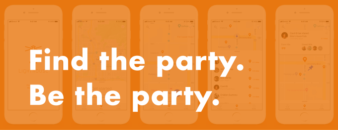 "Header image with the app slogan - ""Find the party. Be the party."""