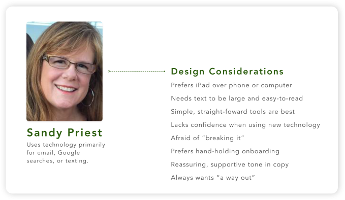 Image outlining Sandy's technology behaviors and considerations I needed to make in the design to help her feel more comfortable.