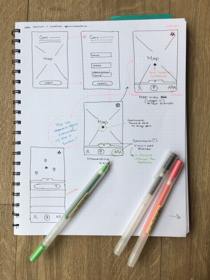 Image of initial wireframe sketches.