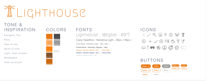 Glimpse of Lighthouse style guide showing colors, tone, fonts and icons.