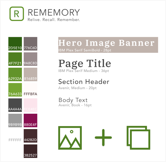A snapshot of Rememory's style guide showing colors, fonts and a few icons.